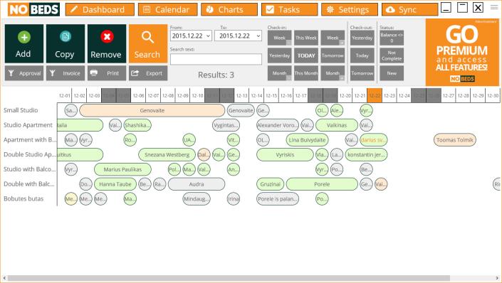 Hotel management system Availability calendar