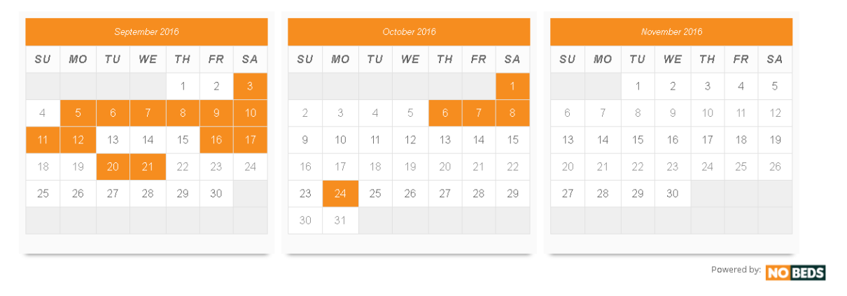 Availability calendar | Free hotel management system